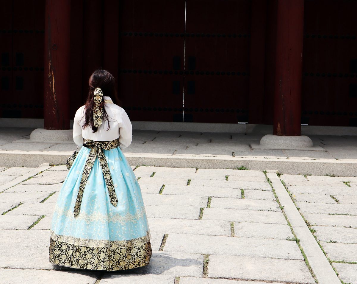 lady wearing a traditional hanbok
