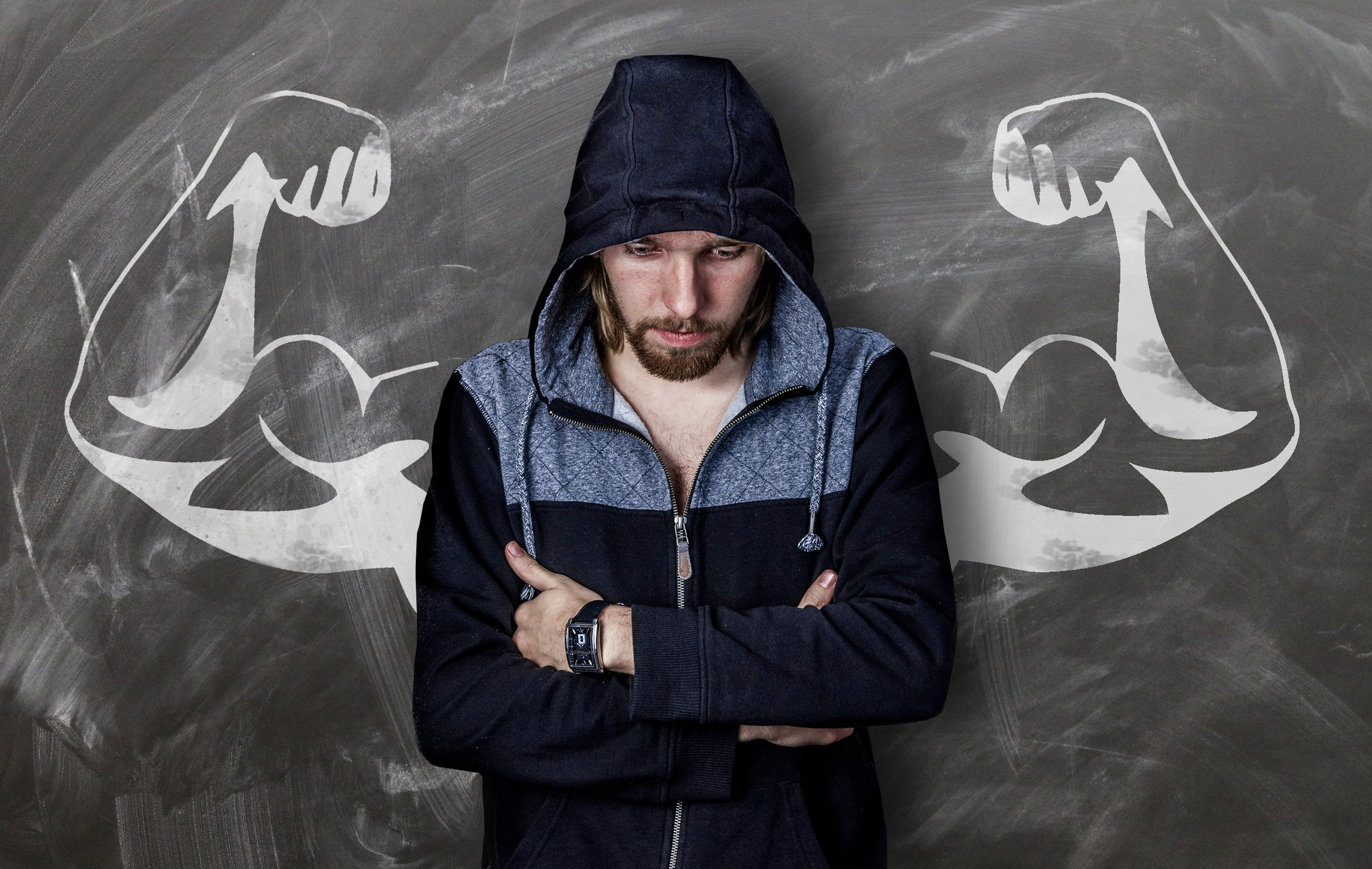 man with muscles standing up